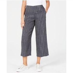 Eileen Fisher Organic Linen Striped Crop Pants S